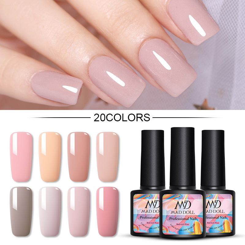 MAD DOLL Solid-color Gel Nail Polish 8ml Soak Off UV Gel Polish Varnish One-shot  Nail Color Nail Art Gel Lacque Manicur