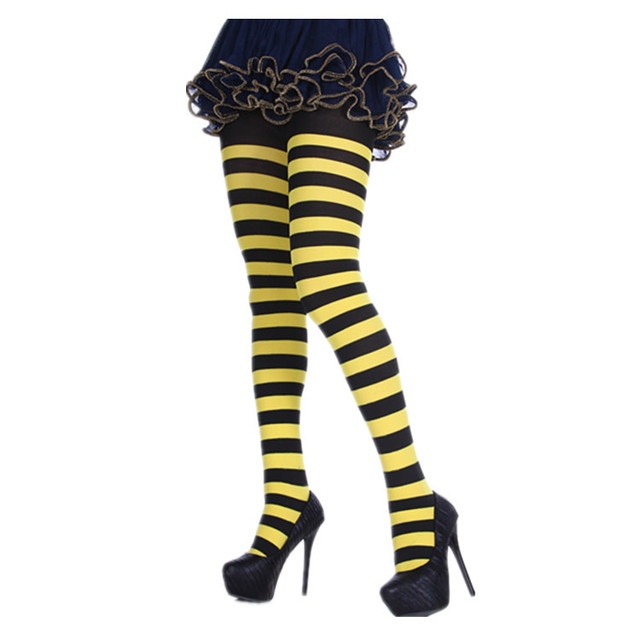 Women Girl Elf Xmas Bee Striped Colourful Pantyhose Tights Costume Stockings Tights Opaque Microfiber Stockings Nylon Footed