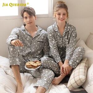 Image 4 - Couple New Pajamas Men 2020 Fashion Home Clothing Men And Women Cardigan Cotton Sleepwear Lapel Stars Print Sleepwear Pyjama Set