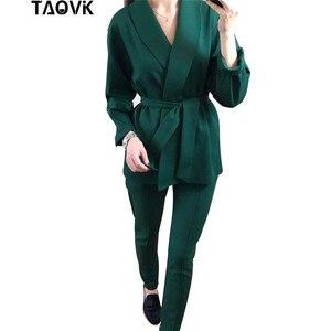 Image 5 - TAOVK משרד ליידי צפצף חליפות נשים של תלבושות חגורת בלייזר עליון מכנסי עיפרון שתי חתיכה תלבושות femme אנסמבל חליפת מכנסיים אביב
