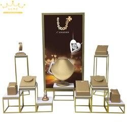 Goud PU Ketting Armband Ring Oorbellen Horloge Organizer Tentoonstelling Stand Fine Roestvrij Staal Venster Teller Sieraden Showcase