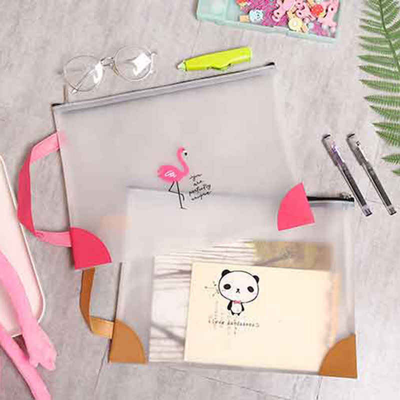 Portable Lovely Cartoon Panda Bear Transparent Zipper Handle Folder Student Stationary  Filing Products