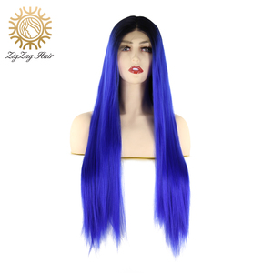 Perruque Lace Front Wig synthétique ZigZag   Perruque sans colle en Fiber 2 tons, lisse et longue, noire à bleue, résistante à la chaleur