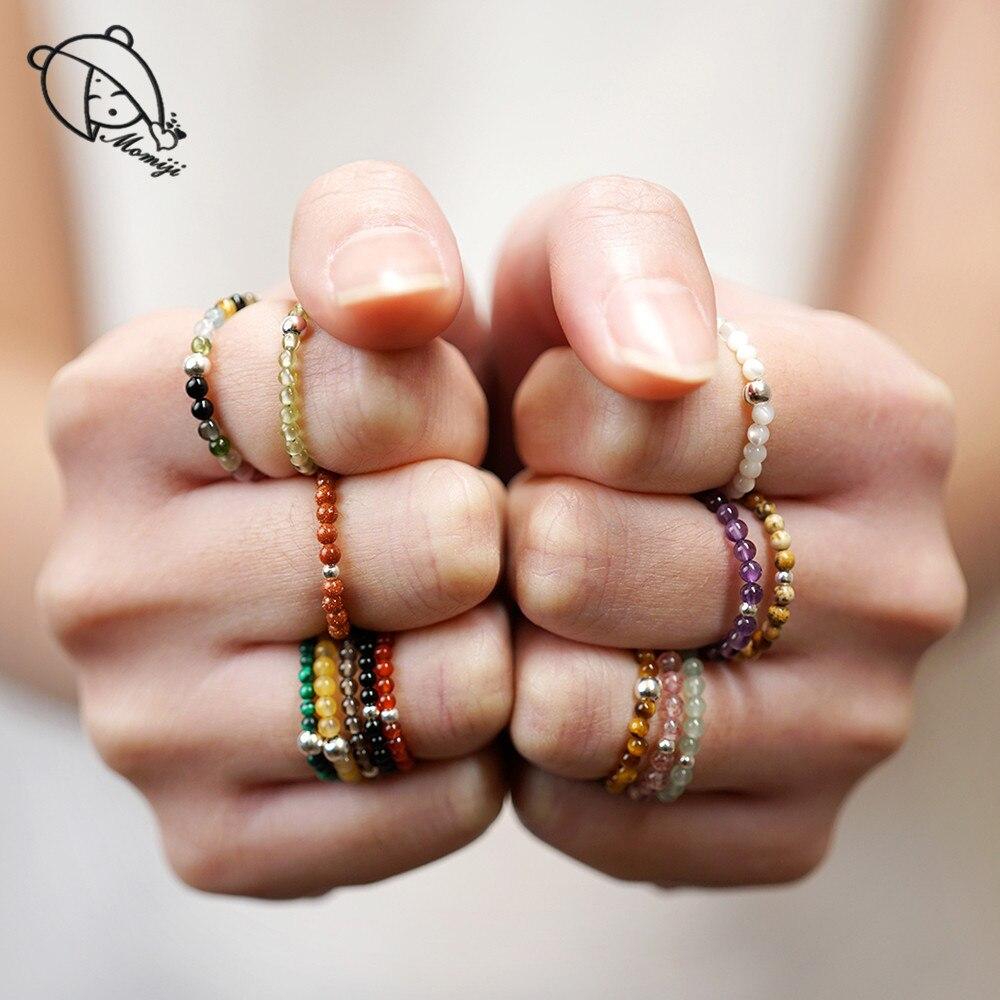 Momiji anéis de miçangas de pedras naturais, joias de pedra natural, multicores, artesanal, presentes de moda, feminino, anéis de casamento elásticos ajustáveis