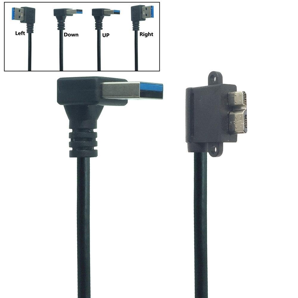 Câble USB 3.0 A mâle vers Micro B mâle, 90 degrés, 0.3M, angle vers le bas et gauche et droite, USB 3.0