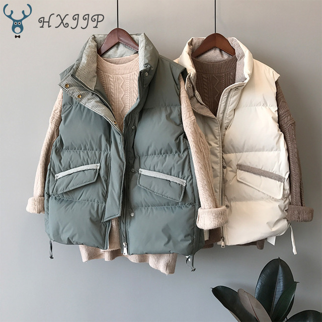 $ US $31.29 2019 Winter Jacket  New Slim Striped Vertical Collar Lace Thickened Down Cotton waistcoat Women's Vest Coat 3059.