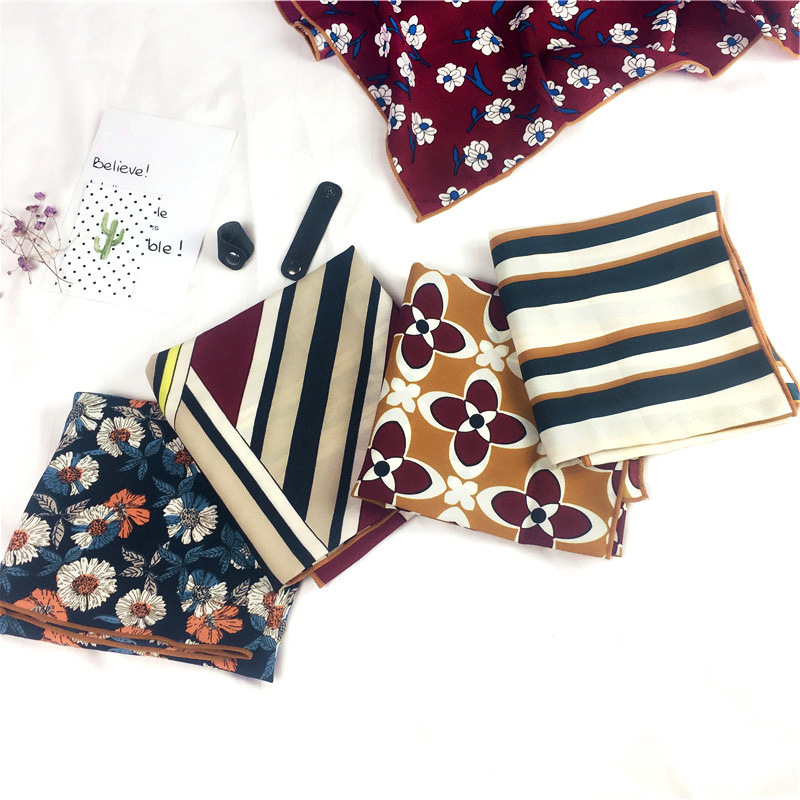 50 Small Square Towel Silk Scarves Women's Europe And America Printed Spring, Autumn And Winter New Style Cotton Linen Stripes B