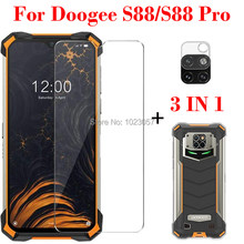 3-em-1 caso + câmera de vidro temperado para doogee s88 screenprotector vidro para doogee s88 pro vidro 3d