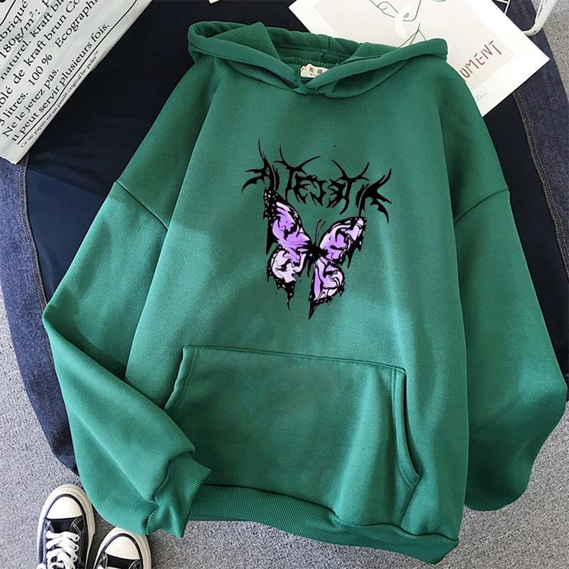 pink clothing black butterfly oversized Women's Hoodies Print Kawaii Sweatshirt Hoodies for Women top Hoody clothes Full Sleeve 11