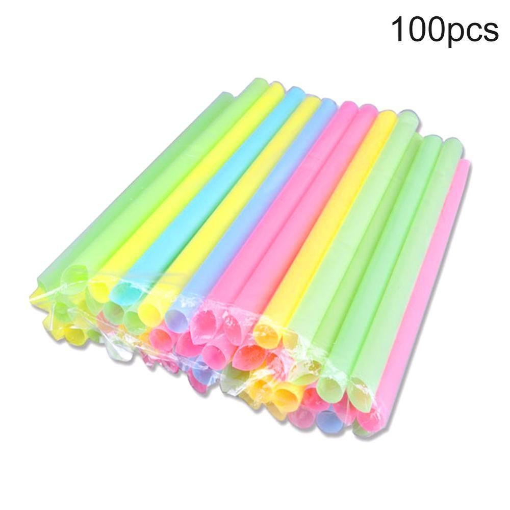 100Pcs Disposable Straws Drinking Plastic Straws Striped Flexible I9S0