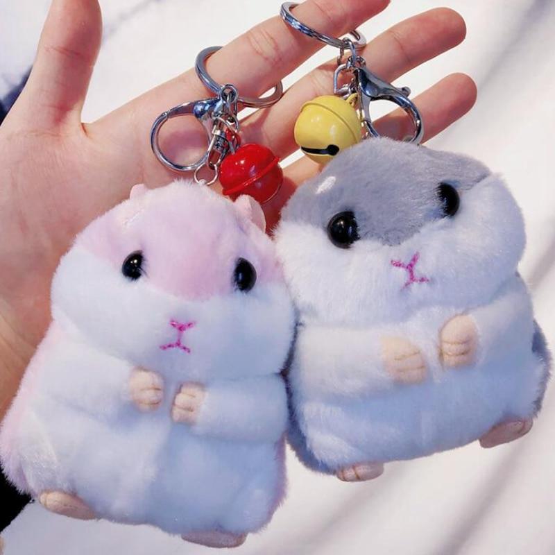 Rabbit Fur Plush Bag Pendant Car Keychain Plush Key Buckle Animal Dog Key Ring