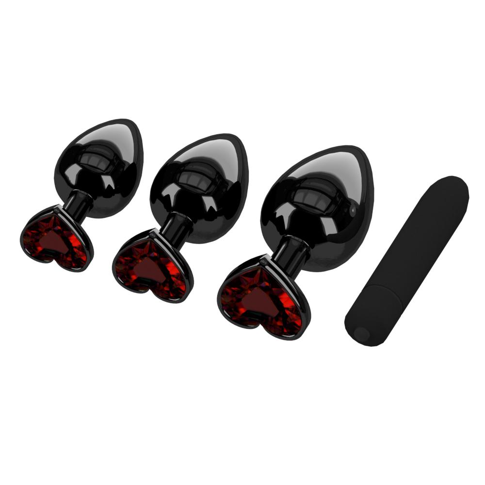 Plating Black Metal Anal Plug Romantic Red Heart Crystal Base Mooth Butt Plug Anal Bead Couple Anus Dilator Metal Ball Massager