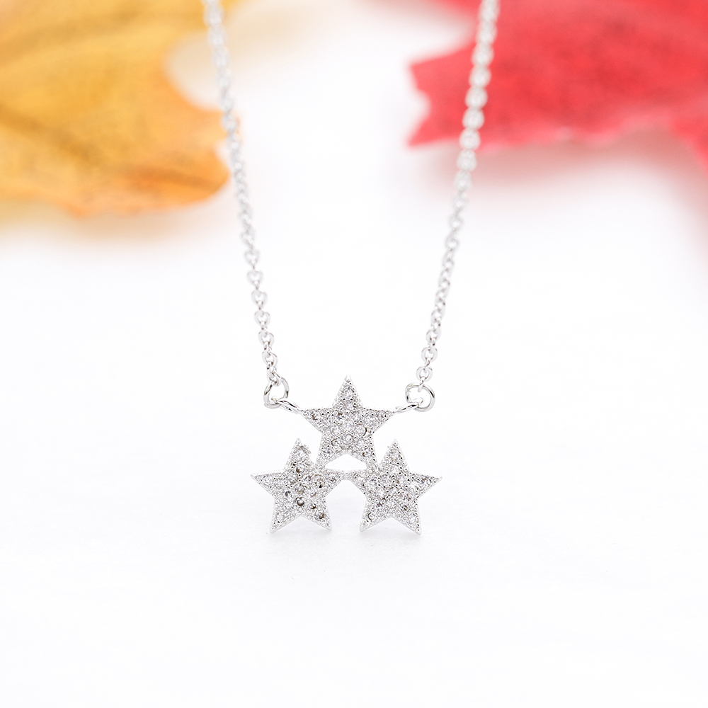 Crystal Star Necklace Zircon Inlaid Pendant Woman Bright Shining Bling Glamour Fashion Jewelry Remembrance Day Birthday Gift