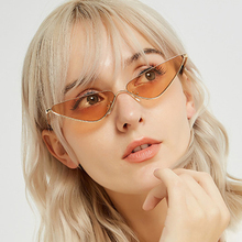 XIWANG Trend Small Frame Sunglasses Women New Fashion Personality Triangle Shaped Metal Shades Eyewear 2019