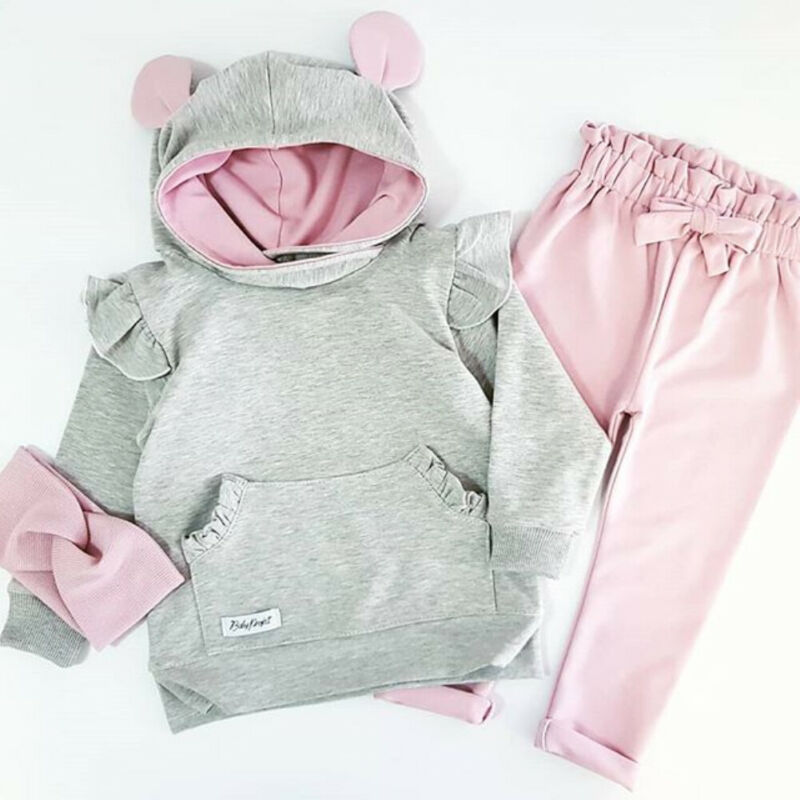 2019 Autumn Newborn Baby Girl Clothes Rabbit Ears Long Sleeve Tops+Leggings Pants Outfit Set 2Pcs