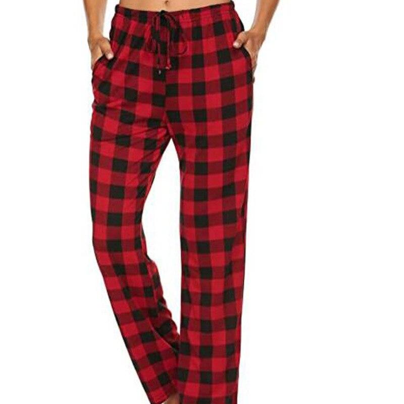 Весенние женские свободные шнурок талии плед печати штаны для сна из комфортной ткани стрейч; Пижама для сна, низ с карманом