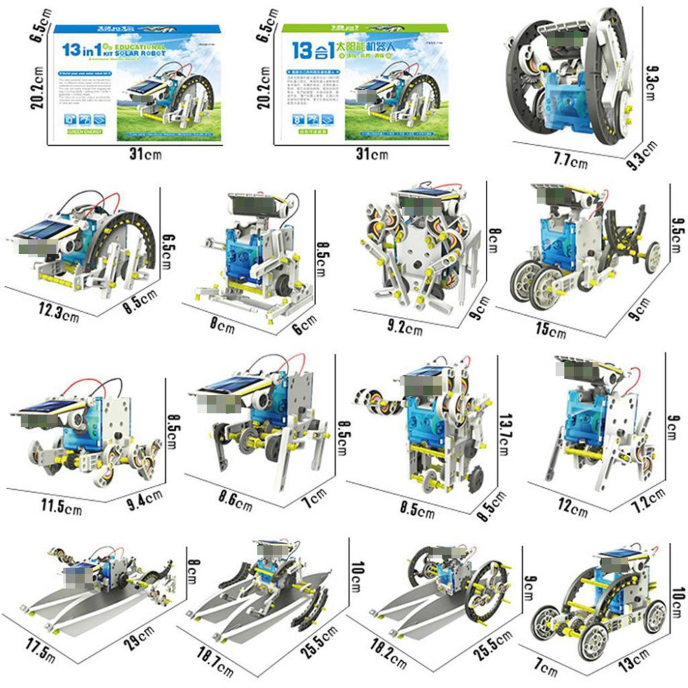13 In 1 Solar Powers Robot DIY Kit Toy Educational Science Experiment Technology Toys for Boys and Girls Free Sticker STEM Toys