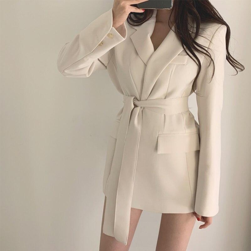 Womens Blazer Ladies Slim Suit Jackets Korean Fashion Coat Lace Up Waist Solid Color Office Blazer