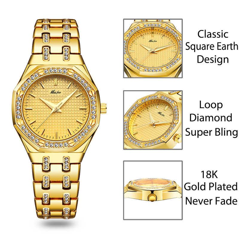 MISSFOX אופנה שעונים נשים של יקר 18K זהב גבירותיי שעון יד נשים קוורץ קלאסי אנלוגי יהלומי תכשיטי יד שעון