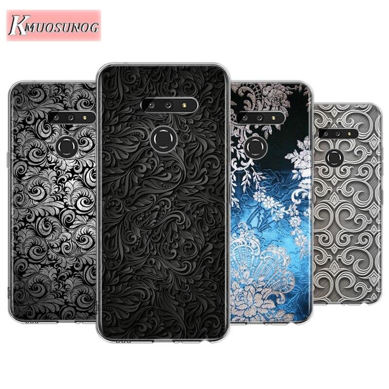 Dark Flower Texture Pattern For LG W30 W10 V50S V50 V40 V30 K50S K40S K30 K20 Q60 Q8 Q7 Q6 G8 G7 G6 Thinq Phone Case