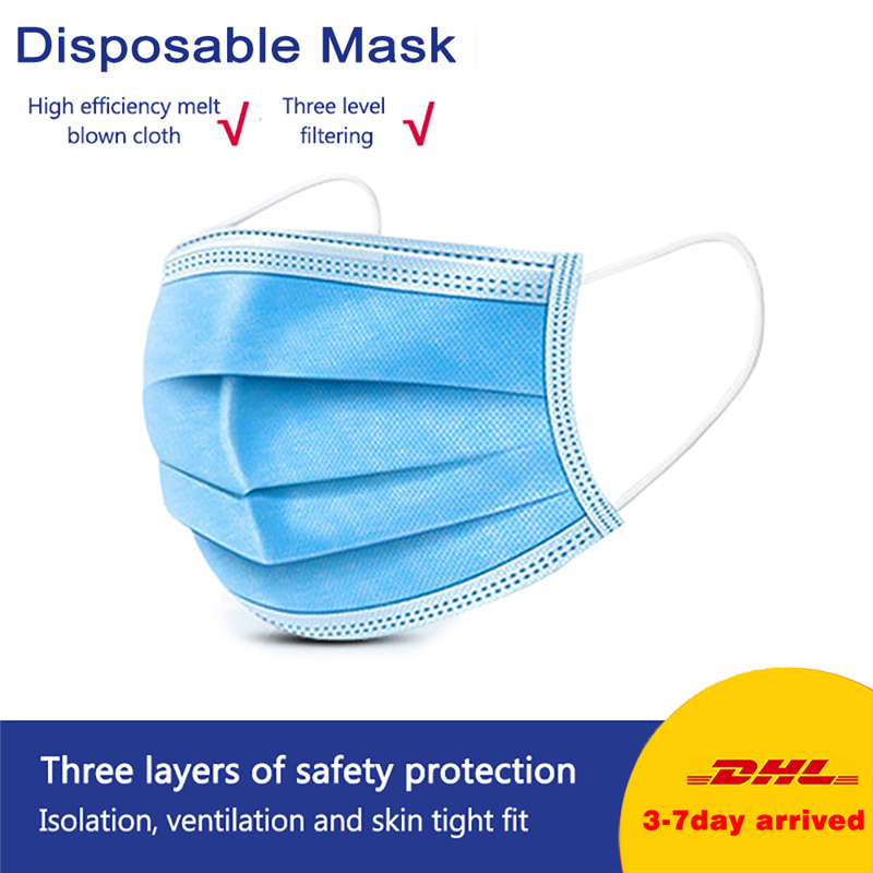 100Pcs Face Mouth Mask 3 Layer Non-woven Filter Dust Folding Earloop Breathable Respirator In Stock Adult Filter Mask