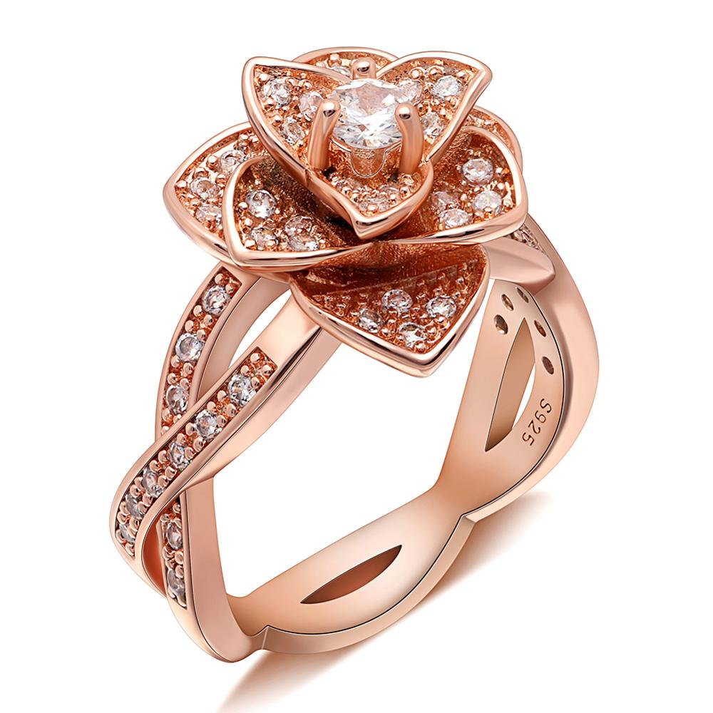 Ring copper plated with zircons