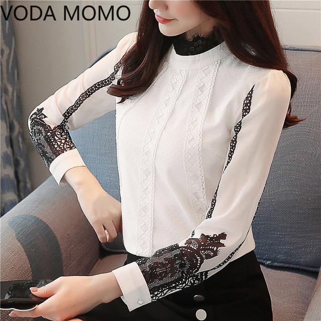 offlce long sleeve women's shirt blouse for women blusas womens tops and blouses lace chiffon shirts ladie's top plus size 5