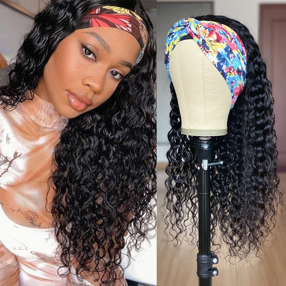 30 32 34 36 inç su dalgası kafa bandı peruk insan saçı tutkalsız brezilyalı Remy saç sapıkça kıvırcık kafa bandı peruk siyah kadınlar için 150%