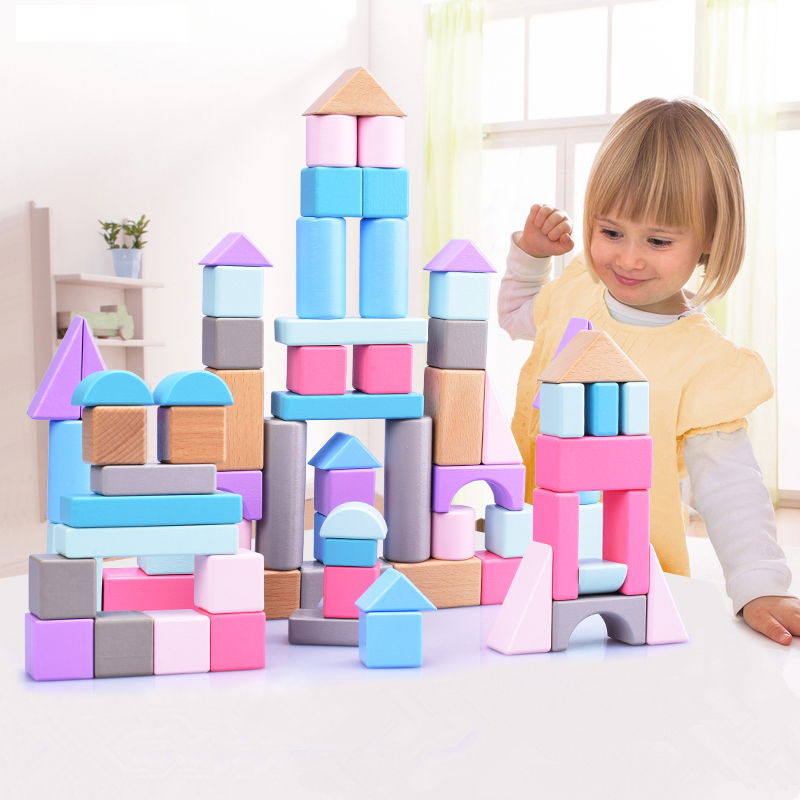 Kids Montessori Wooden Toys Wood Building Blocks Rainbow Blocks Baby Early Educational Toy DIY Geometric Assembling Game Gift