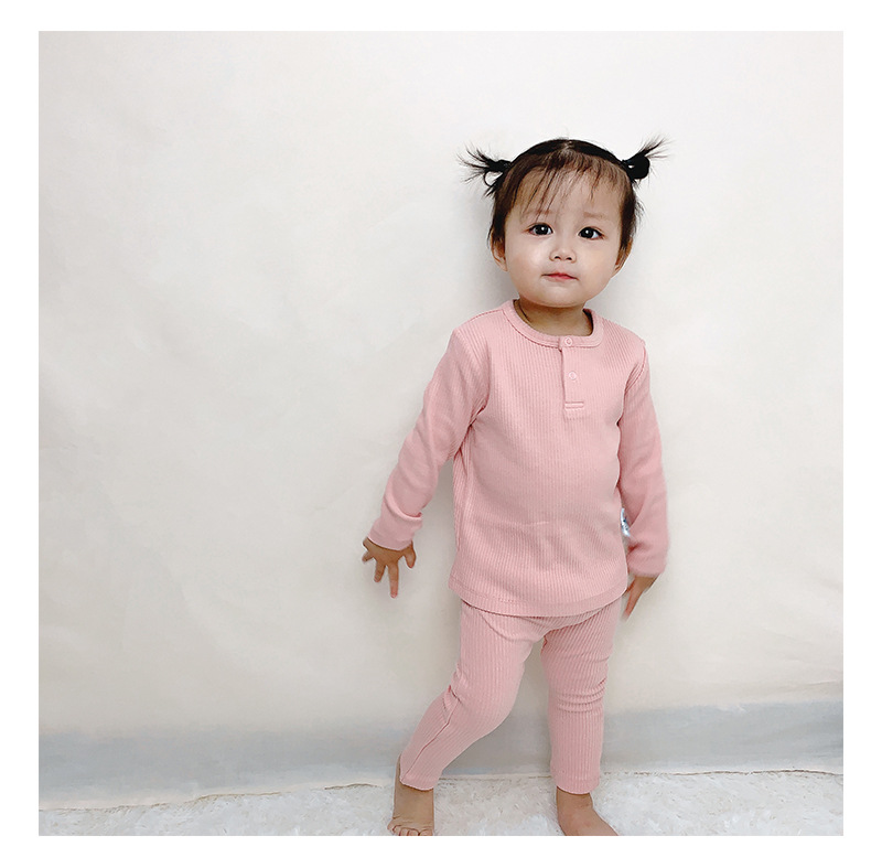 Soft Ribbed Toddler Girl Pajamas For Baby Boys Clothes Set Autumn Winter Children Outfits Long Sleeve Tops Pants 2 Pcs Kids Suit (14)