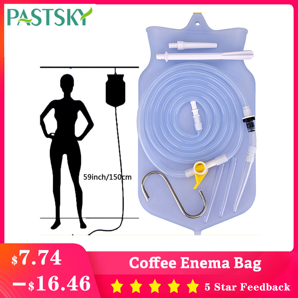 2L Coffee Enema Bag Kit Reusable Silicone Water Colon Cleansing Enteroclysm Detoxified Bowel Bags Vaginal Anal Washing