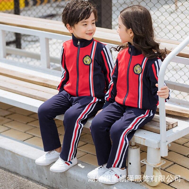 Kindergarten Suit Spring And Autumn Pure Cotton Set Primary School STUDENT'S School Uniform Children Men And Women Business Atti
