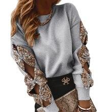 Primavera otoño mujer jerséis de cuello redondo, Oficina señoras lazo con lentejuelas recorte manga larga suéteres de punto sueltos
