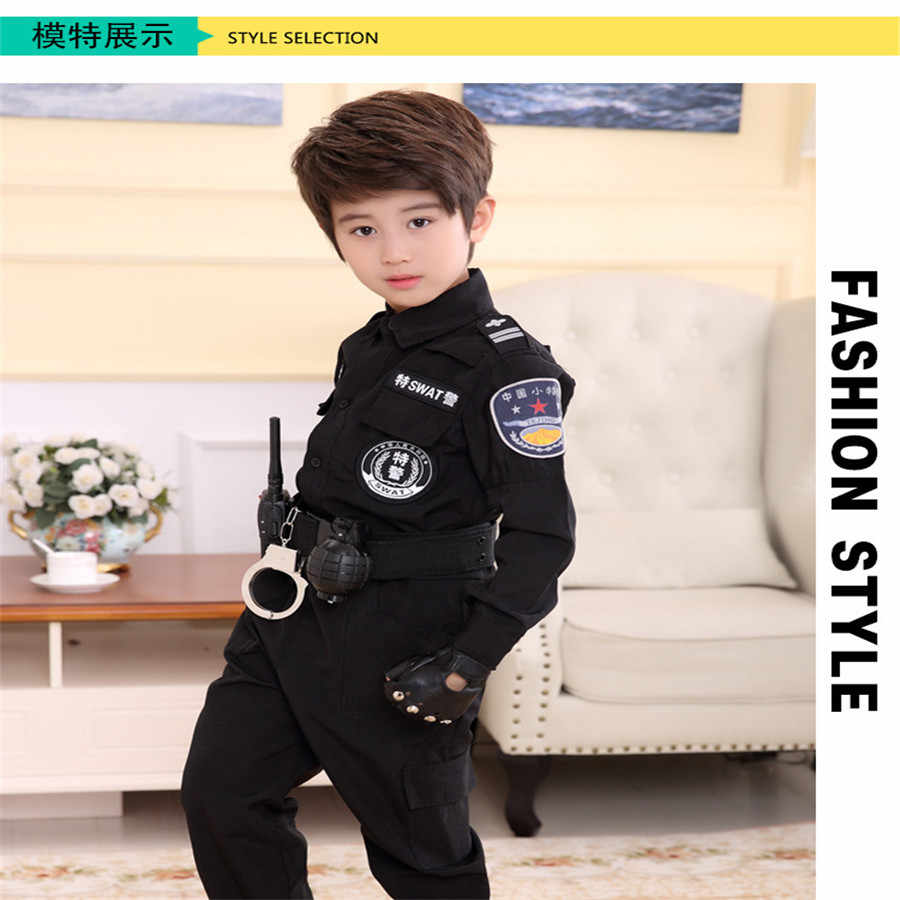 Kinder Verkehrs Polizei Cop Cosplay Kostüme Polizisten Uniform Mädchen Plissee Rock Student Team Halloween Party Leistung