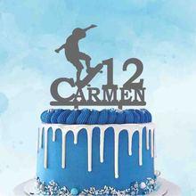 Изготавливаемое на заказ Название скейтборд для игр силуэты торт Топпер для дня рождения украшение для торта Топпер