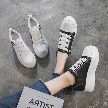 2019 Season Single Shoes Female Ping Small White Shoes Female Thick Bottom Inside Increase Single Shoes Genuine Leather Women's