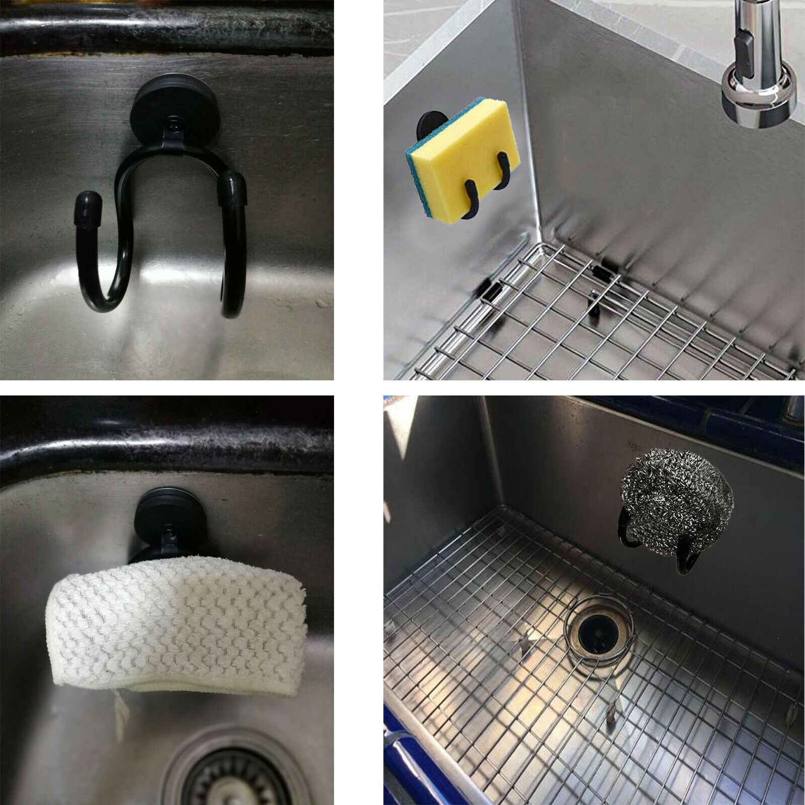 2x Magnetic Dish Cloth Dish Towel Holder for Kitchen Sink w Metal Plate W style