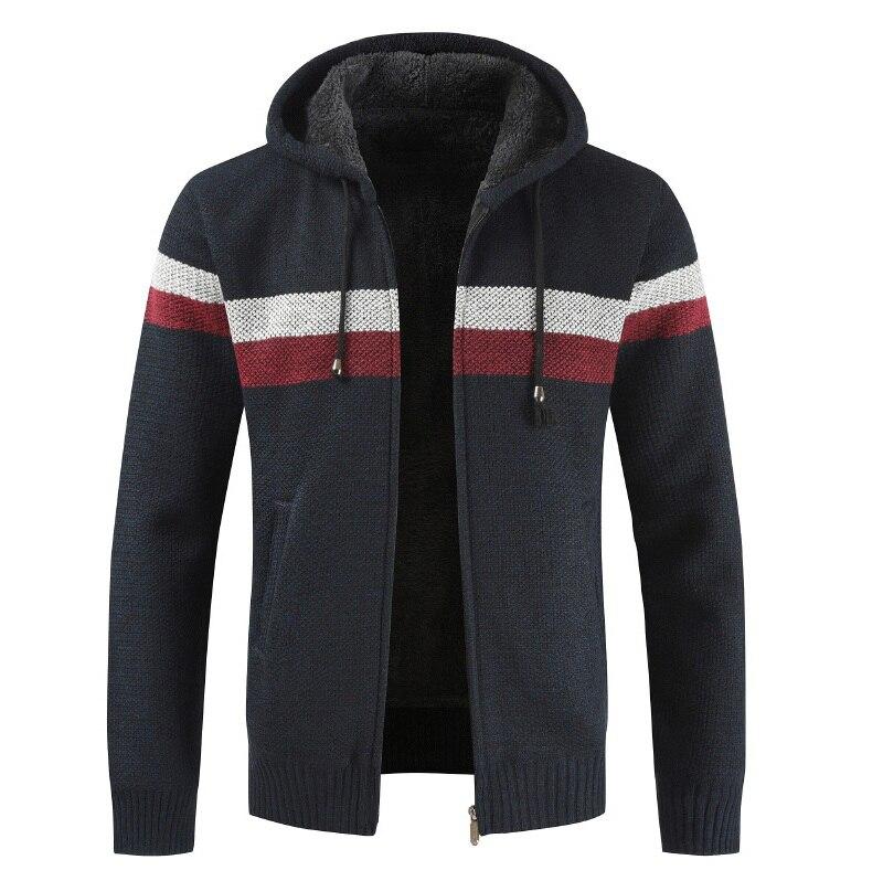 JODIMITTY Sweater Coat Men 2019 Winter Thick Warm Hooded Cardigan Jumpers Men Striped Cashmere Wool Liner Zipper Fleece Coat Men