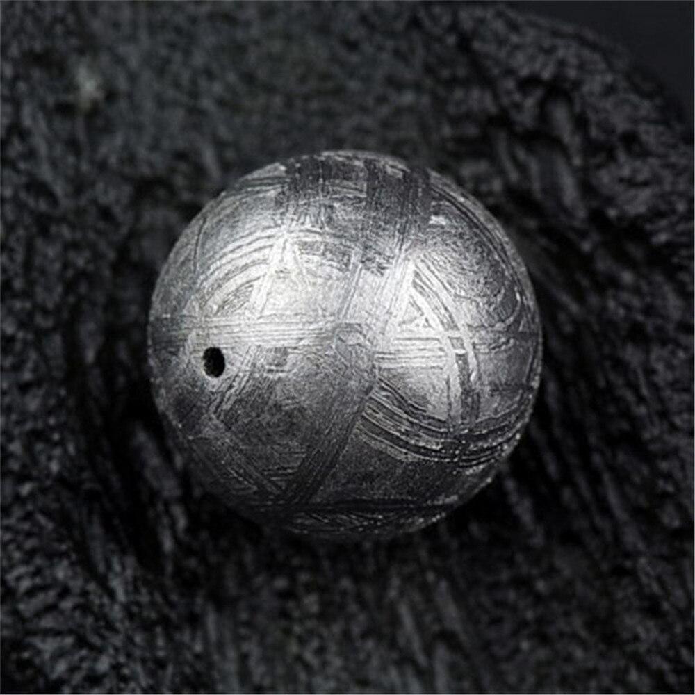 14mm Genuine Natural Gibeão Meteorito de Ferro Moldavita Solto Forma Redonda de Prata Um Talão Acessório Para DIY Colar Pulseira AAAAA - 5