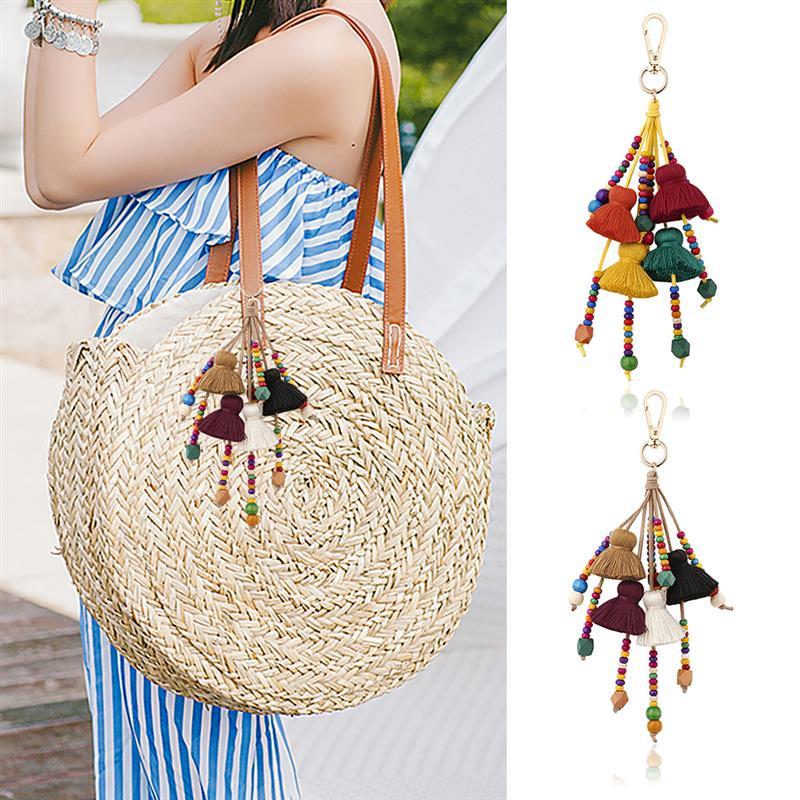 Брелок с кисточками, помпоном, декоративный модный креативный кулон для сумки, твердый деревянный бисер, брелок для ключей, аксессуары для