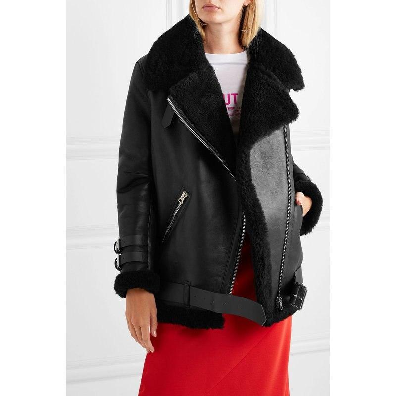 Gratis verzending, Vrouwen mode Echt leren jas, winter warme bontjas. schapenvacht wol jassen, plus size schapen shearling-in Leer & Suede van Dames Kleding op  Groep 1