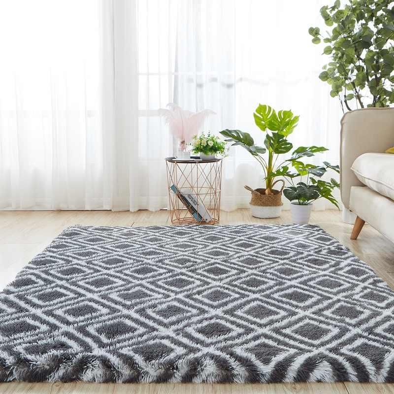 기하학적 인 푹신한 부드러운 카펫 거실 넥타이 염색 플러시 털 복 숭이 카펫 침실 안티-슬립 바닥 매트 카펫 키즈 룸 러그