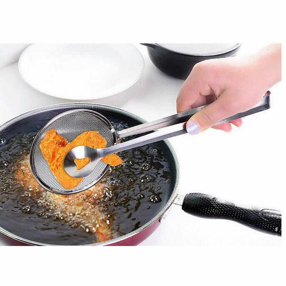 鋼食品クリップふるいスナックフライヤーバーベキュートング揚げフライパンザルメッシュストレーナーフィルターメッシュスプーン揚げ物オイルストレーナークリップ