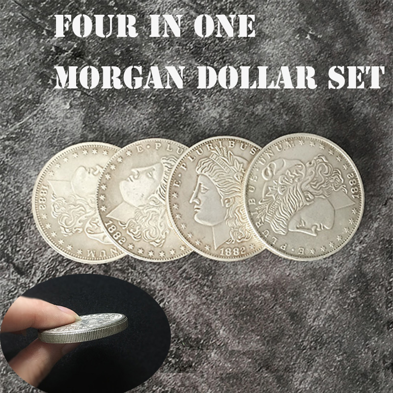 Four In One Morgan Dollar Set Magic Tricks Coin Appear Vanish Magia Magician Accessory Close Up Illusions Prop Gimmick Mentalism