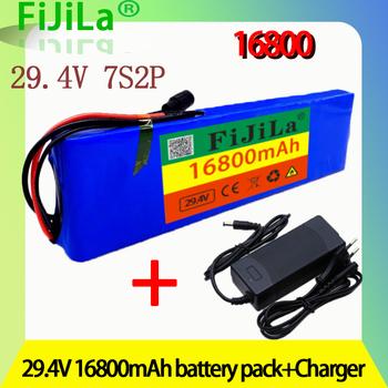 24V 16 8Ah 7S2P 18650 akumulator litowo-jonowy ładowalny akumulator 29 4v 16800mAh elektrycznego roweru motoroweru skuter samobalansujący + 2A ładowarka tanie i dobre opinie fijila NONE CN (pochodzenie) 0 9kg 255x70x20mm 7S2P battery pack Laptop Li-ion