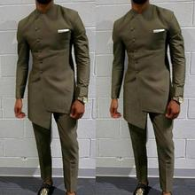 Clothing Suit Blazers Jacket Groom's African Pants Mens for Long Attire Slim Fit Coat