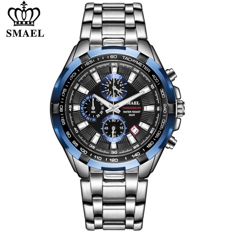 SMAEL Watch Men Fashion Sport Quartz Clock Mens Watches Top Brand Luxury Full Steel Business Waterproof Watch Relogio Masculino