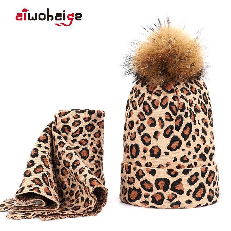 2019 New High Quality Winter Raccoon Fur Pom Poms Knit Beanie Hat Scarf 2 Pieces Set Women Thick Warm Soft Cap Bonnet Skullies