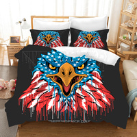 yi chu xin comforter bedding sets Bald Eagle American Flag 3D Bedding Set 100% Microfiber duvet cover