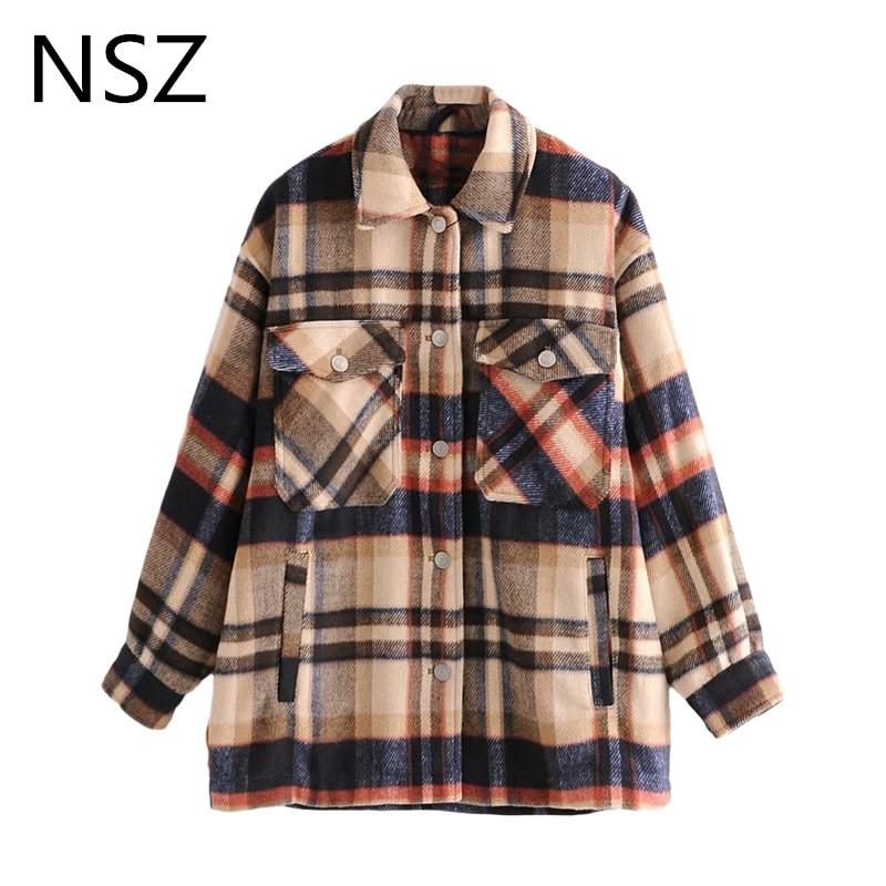 NSZ Women Oversized Woolen Plaid Coat Fashion Checked Wool Blends Jacket Loose Fall Winter Outerwear